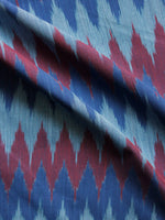 Royal Blue Maroon Grey Pochampally Hand Weaved Ikat Mercerised  Fabric Per Meter - F002F1424