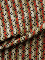 Olive Green Red Black Hand Block Printed Cotton Fabric Per Meter - F001F1353