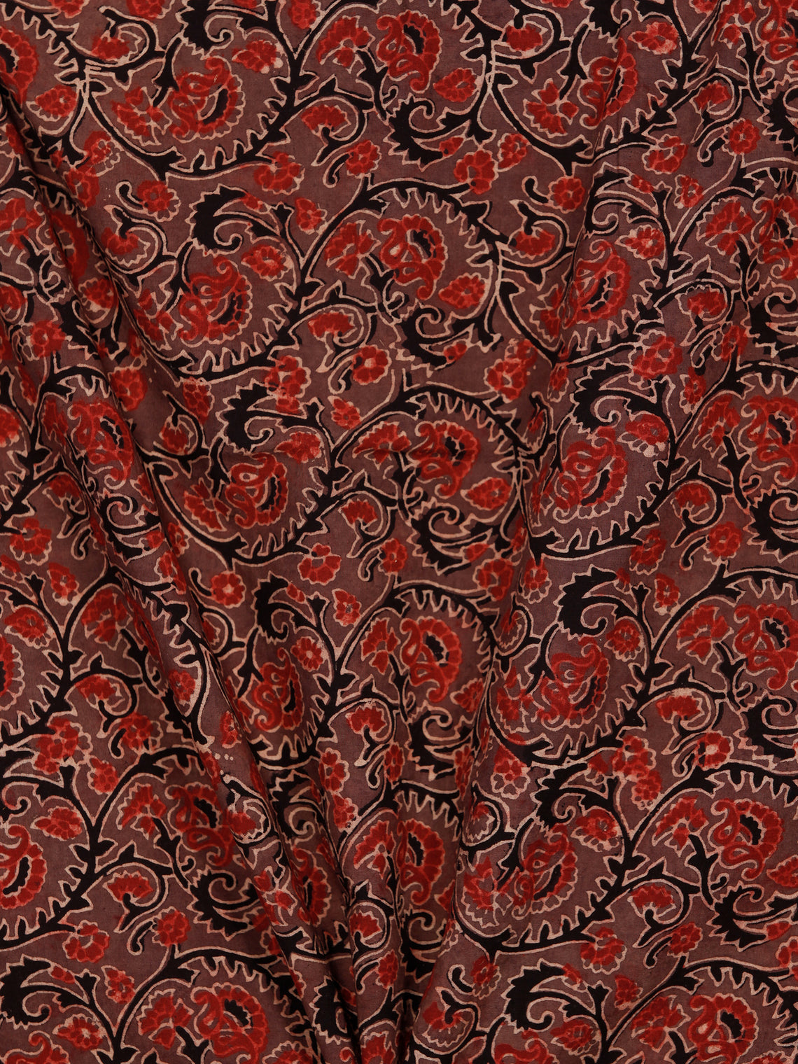 Brown Maroon Black Ajrakh Block Printed Cotton Fabric Per Meter - F003F1756