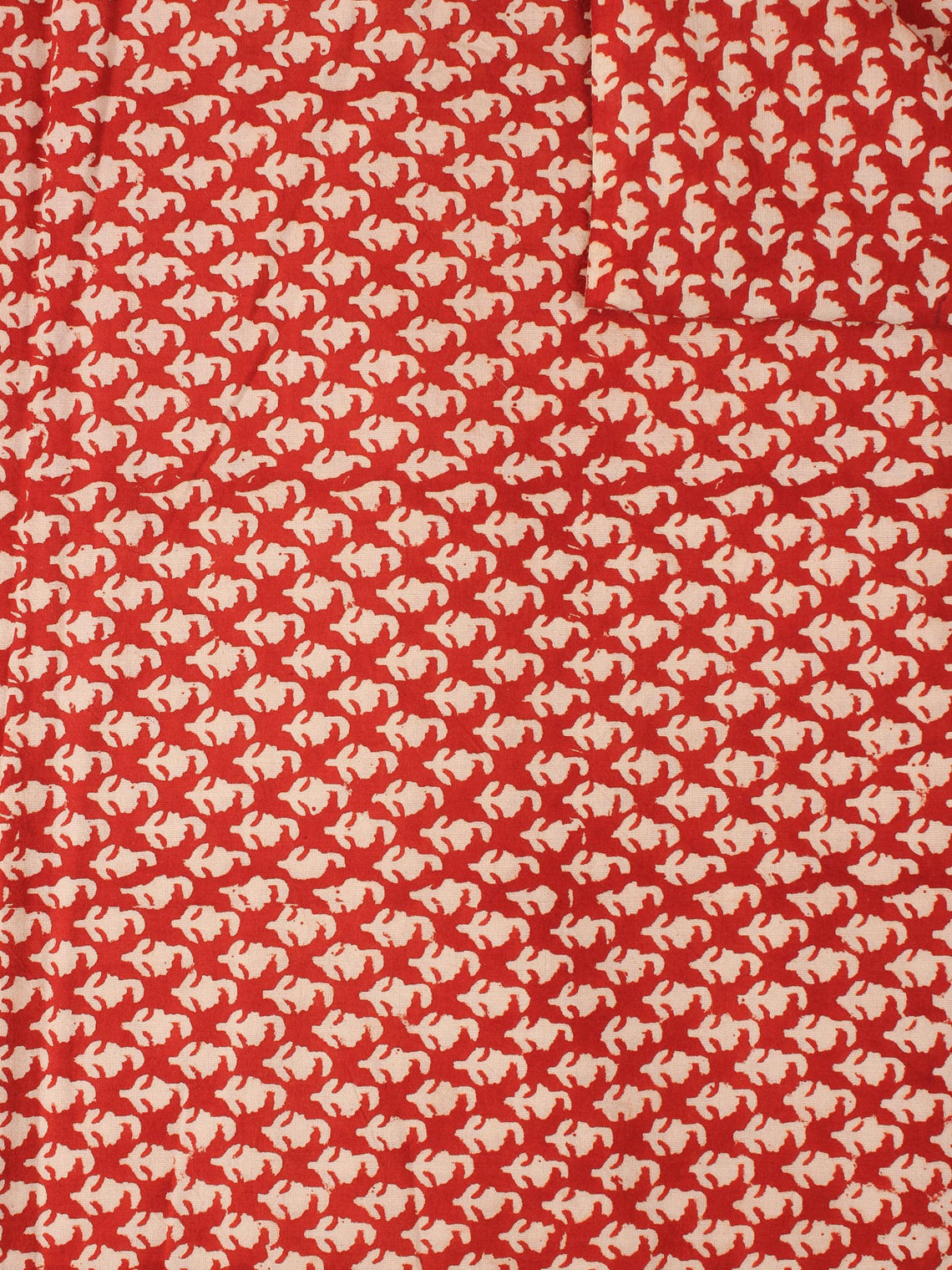 Red Beige Natural Dyed Hand Block Printed Cotton Fabric Piece - F0916227