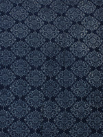 Indigo White Hand Block Printed Cotton Cambric Fabric Per Meter - F0916173