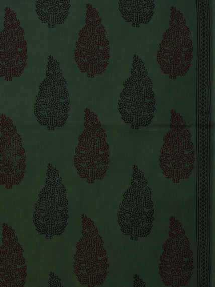 Bottle Green Maroon Black Bagh Printed Cotton Fabric Per Meter - F005F2076