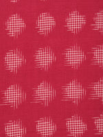 Punch Pink Ivory Pochampally Hand Weaved Double Ikat Fabric Per Meter - F003F2419
