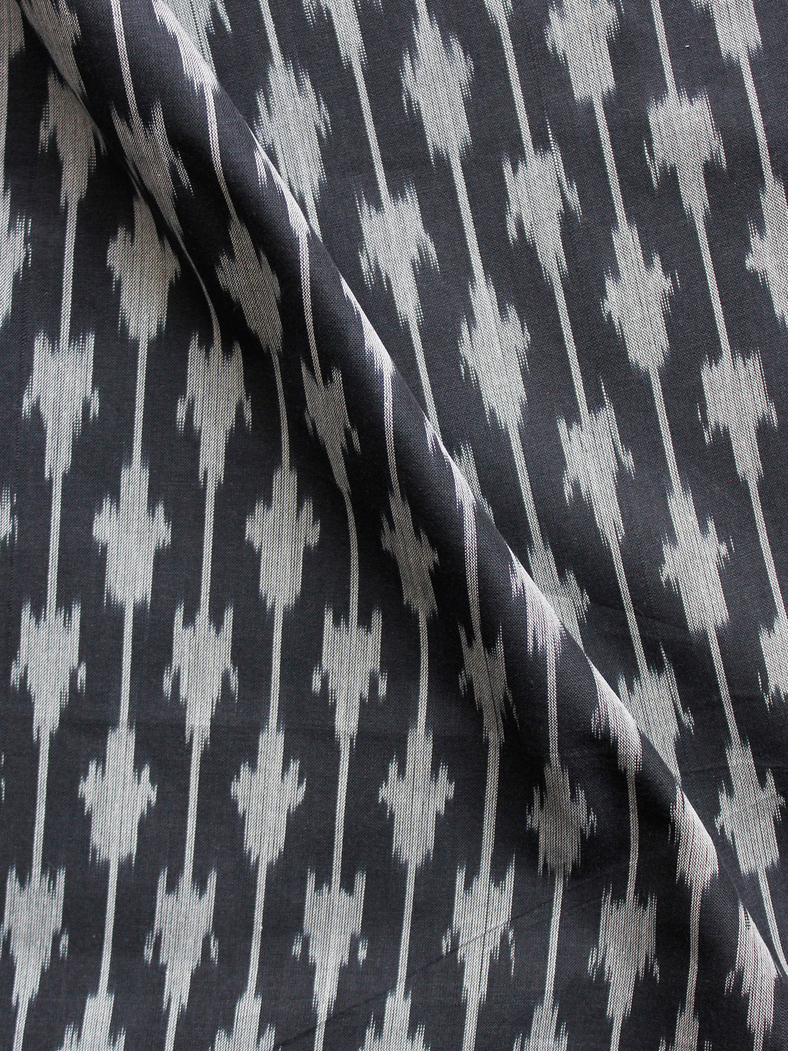 Black Grey Pochampally HandWeaved Ikat Mercerised Fabric Per Meter - F002F1425