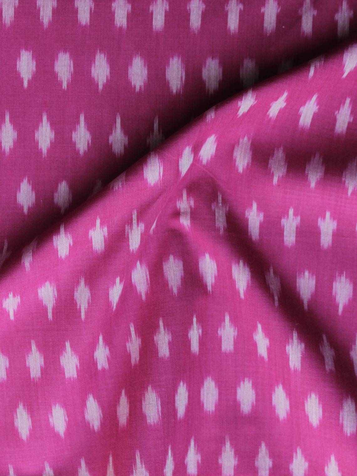 Pink Ivory Pochampally Hand Weaved Ikat Mercerised Cotton Fabric Per Meter - F002F1041