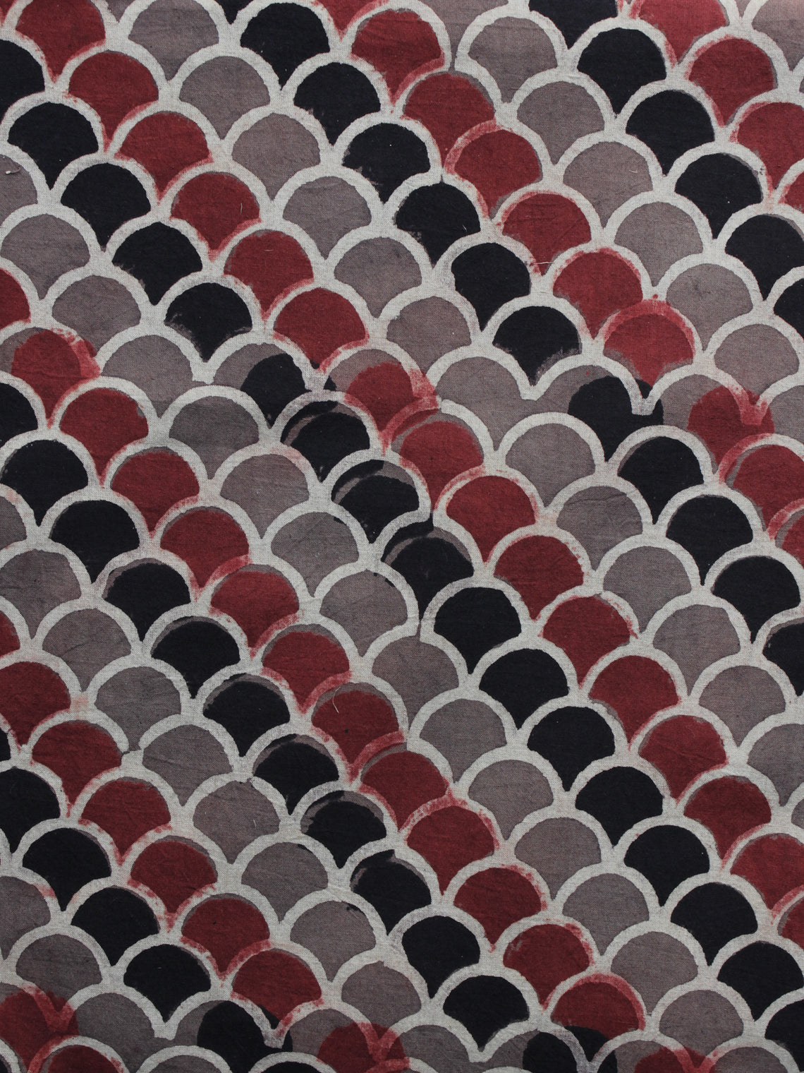 Brown Red Black Ajrakh Printed Cotton Fabric Per Meter - F003F1181