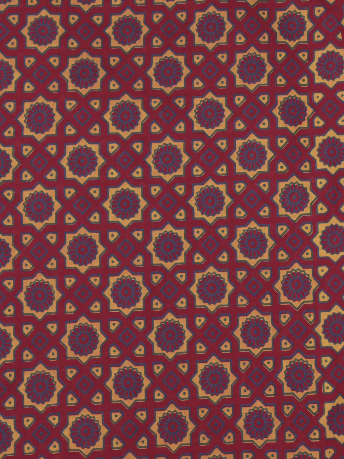 Maroon Yellow Blue Ajrakh Printed Cotton Fabric Per Meter - F0916697
