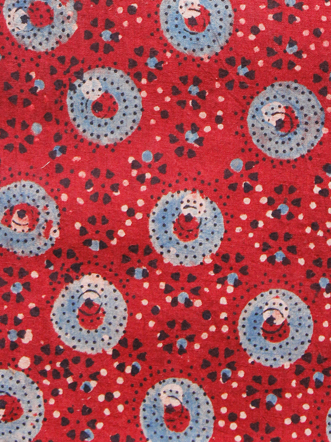 Red Indigo Black Ajrakh Hand Block Printed Cotton Fabric Per Meter - F003F1528
