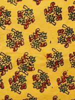 Yellow Red Green Ajrakh Hand Block Printed Cotton Fabric Per Meter - F003F1599