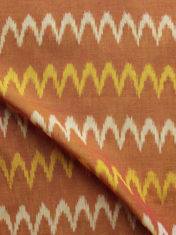 Rust Yellow Ivory Pochampally Hand Weaved Ikat Mercerised Cotton Fabric Per Meter - F002F1042