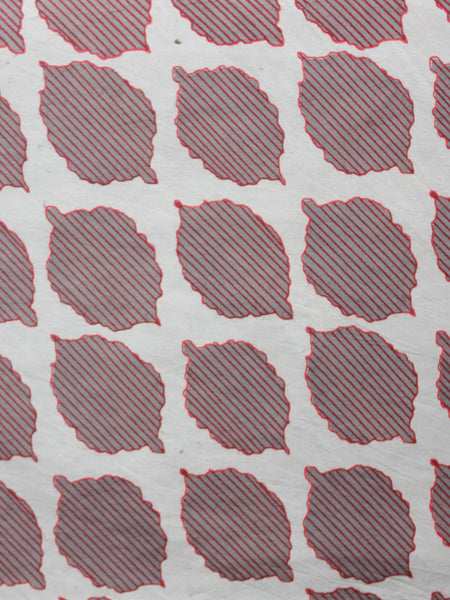 Off White Grey Maroon Hand Block Printed Cotton Fabric Per Meter - F001F1356