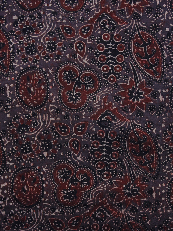 Brown Maroon Black Ivory Ajrakh Hand Block Printed Cotton Blouse Fabric - BPA026