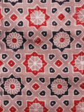 Light Brown Red Black Ajrakh Hand Block Printed Cotton Fabric Per Meter - F003F1600