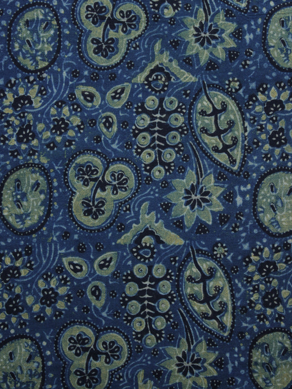 Indigo Green Black Ivory Ajrakh Hand Block Printed Cotton Blouse Fabric - BPA027