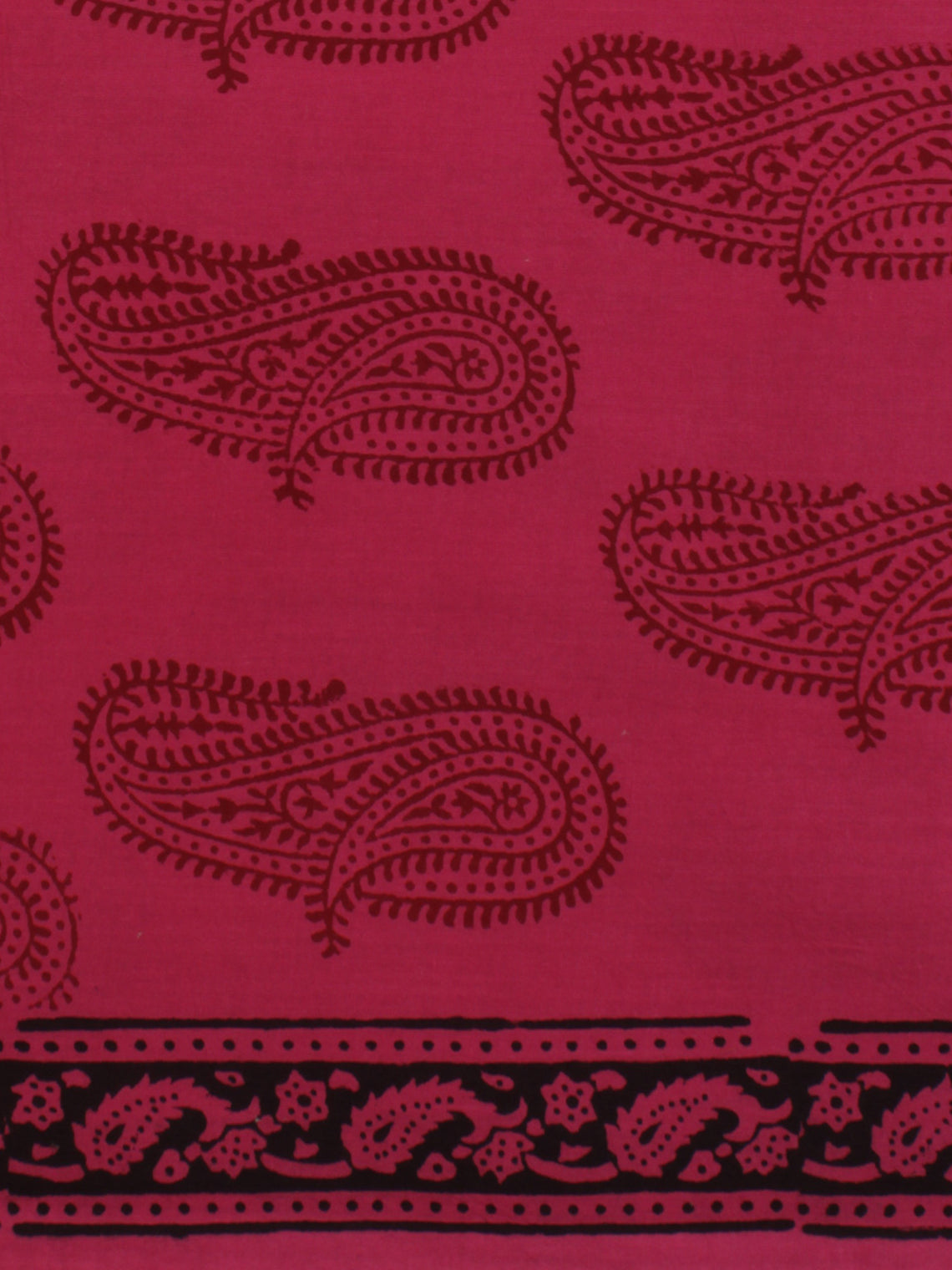 Magenta Pink Red Black Bagh Printed Cotton Fabric Per Meter - F005F2079