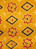 Mustard Black Red Ajrakh Hand Block Printed Cotton Fabric Per Meter - F003F1601