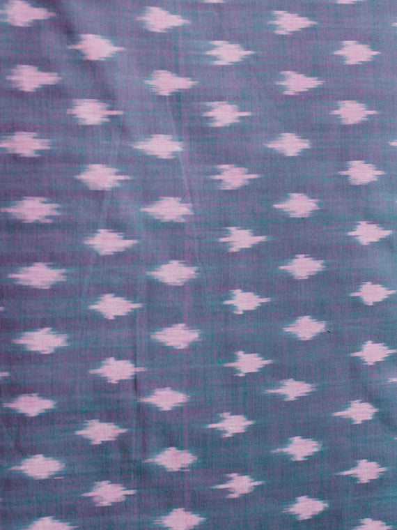 Lilac Purple Green Pochampally Hand Weaved Ikat Mercerised Cotton Fabric Per Meter - F002F1973