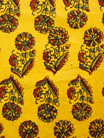 Yellow Red Green Ajrakh Hand Block Printed Cotton Fabric Per Meter - F003F1602