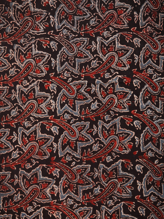 Black Maroon Blue Ajrakh Block Printed Cotton Fabric Per Meter - F003F1762