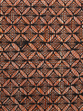 Beige Rust Black Hand Block Printed Cotton Fabric Per Meter - F001F1075