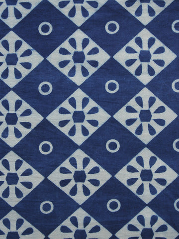 Indigo Blue White Hand Block Printed Cotton Fabric Per Meter - F001F1117