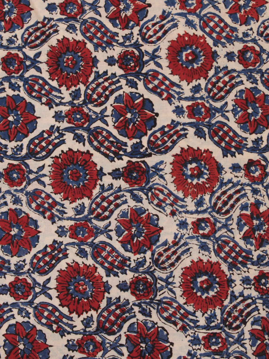 OffWhite Red Indigo Hand Block Printed Cotton Fabric Per Meter - F001F2465