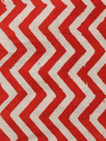 Red Beige Hand Block Printed Cotton Fabric Per Meter - F001F1359