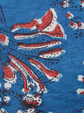 Indigo Ivory Rust Black Hand Block Printed Cotton Fabric Per Meter - F001F1333