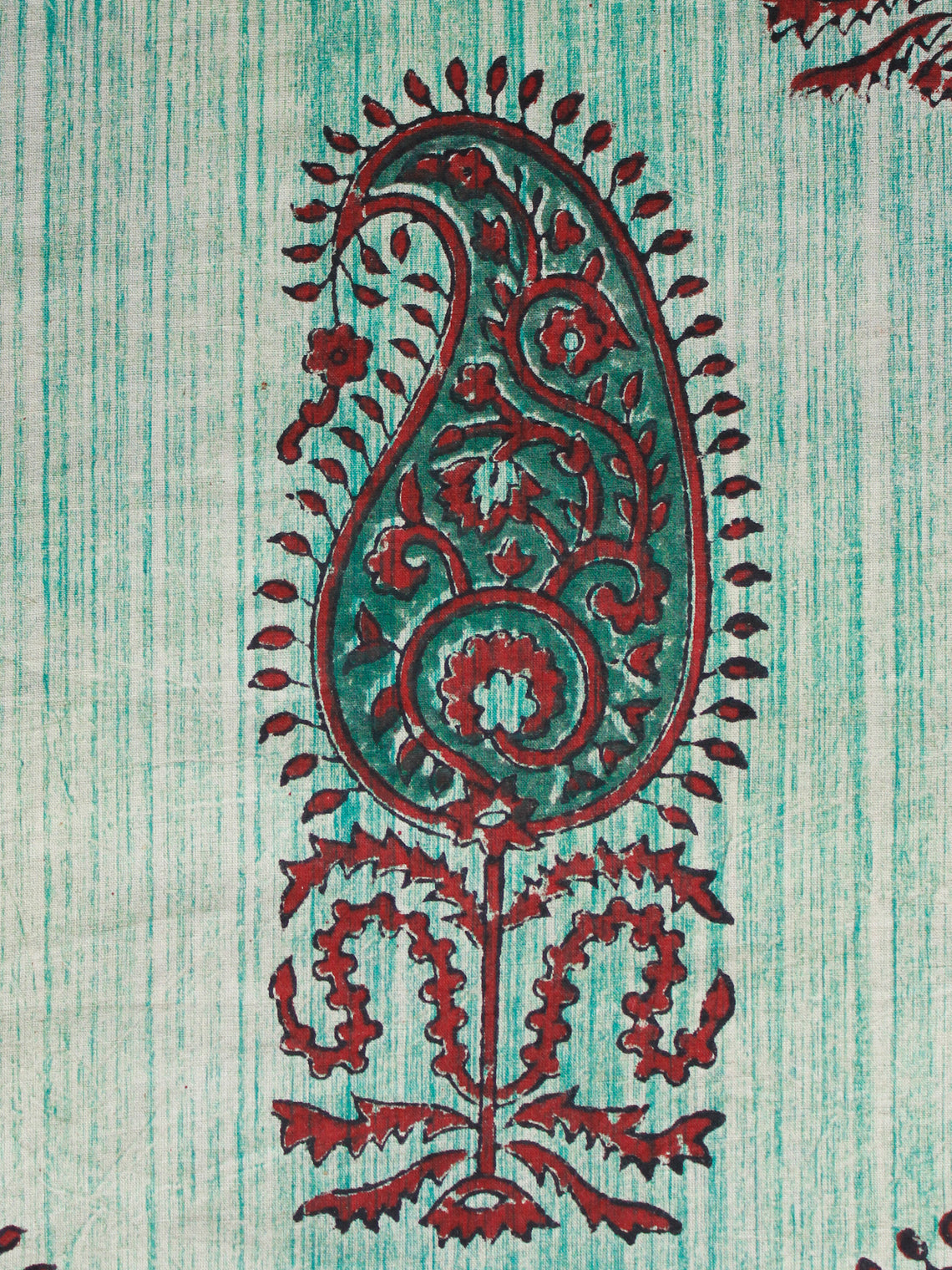 Ivory Green Maroon Hand Brush Printed & Block Printed Cotton Fabric Per Meter - F001F1556