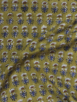Olive Green Ivory Blue Brown Kantha Embroidered Hand Block Printed Cotton Fabric - F001F563