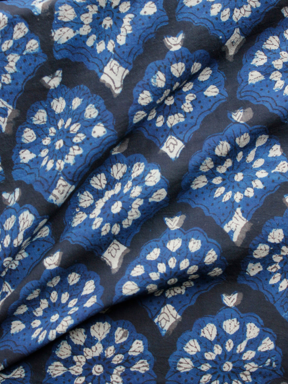 Black Indigo White Hand Block Printed Cotton Fabric Per Meter - F001F1730