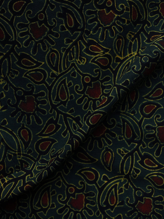 Green Black Maroon Ajrakh Hand Block Printed Cotton Blouse Fabric - BPA003