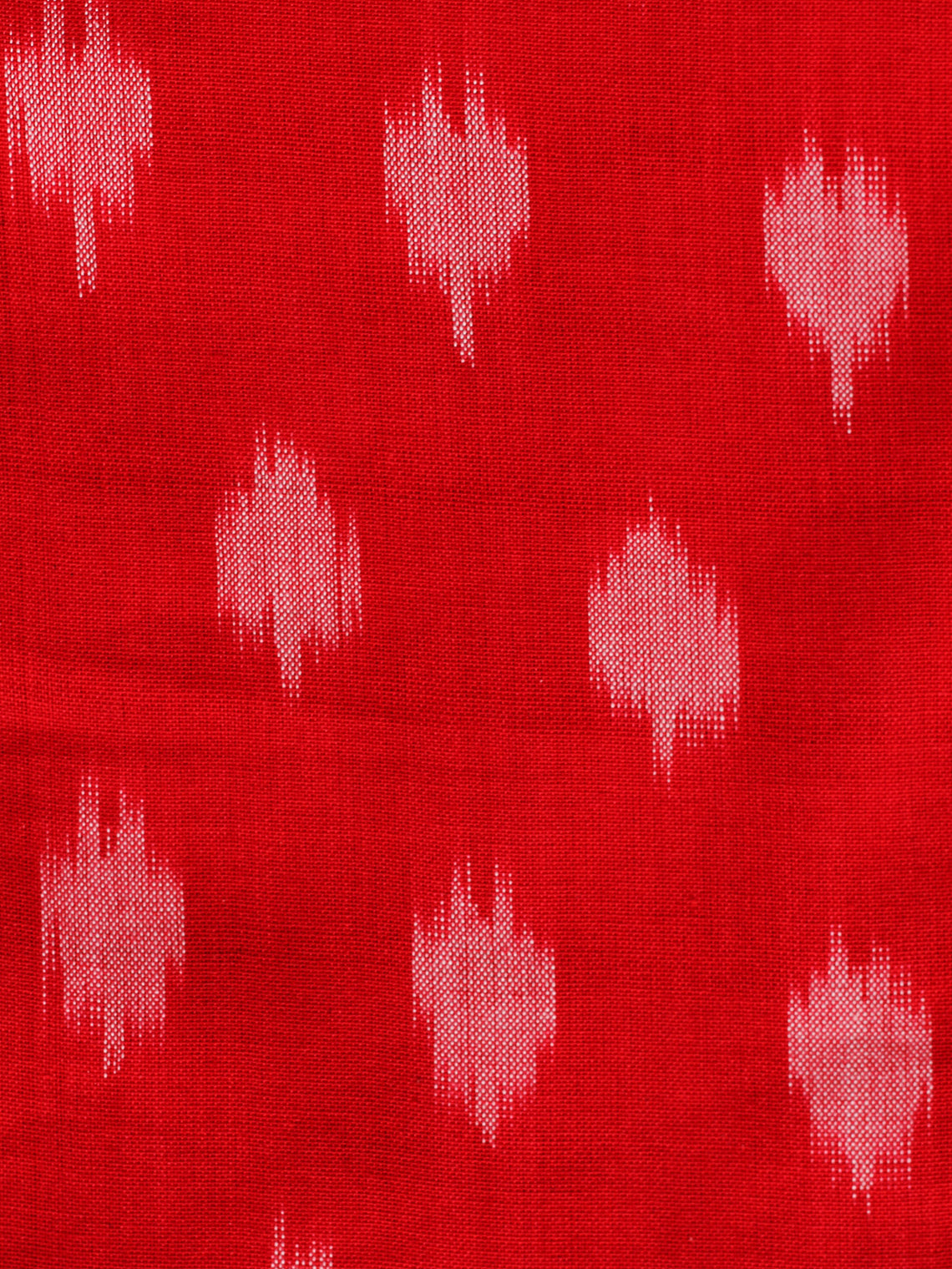 Red Ivory Pochampally Hand Weaved Ikat Mercerised Cotton Fabric Per Meter - F002F1857