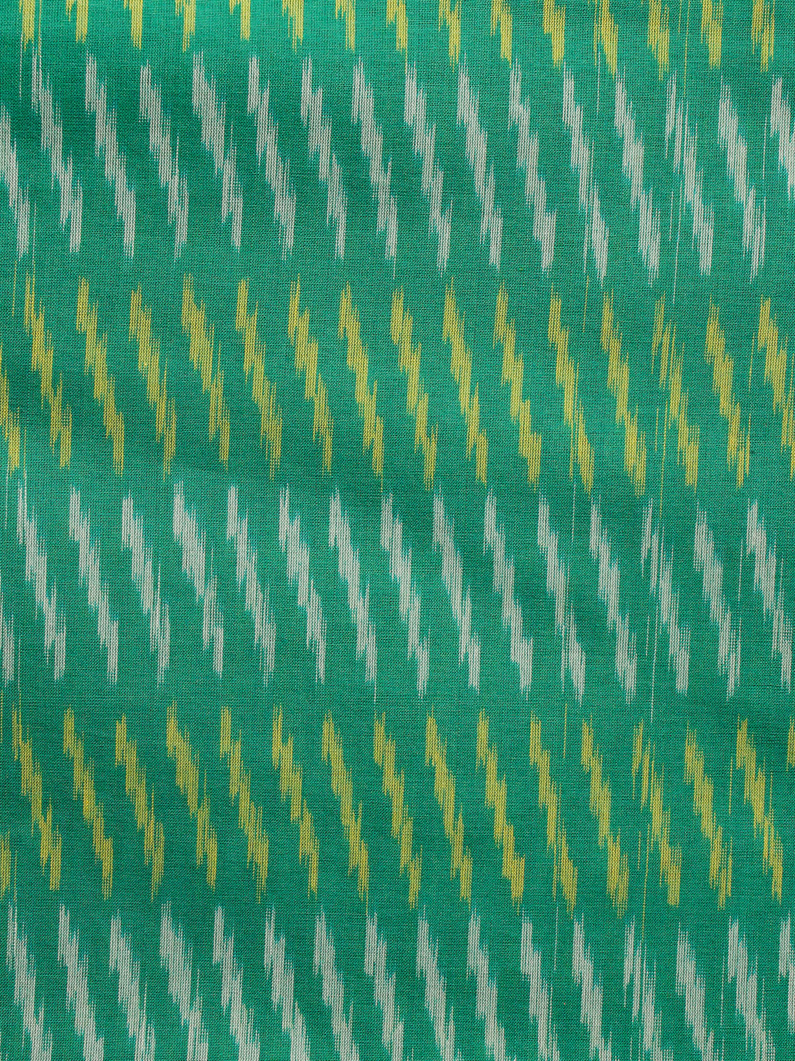 Green Yellow Grey Pochampally Hand Weaved Ikat Mercerised  Fabric Per Meter - F002F1431
