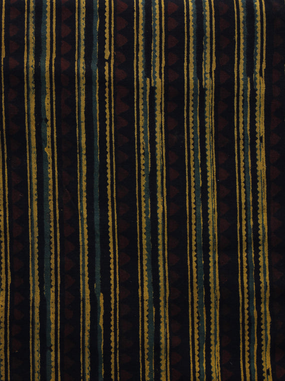 Yellow Green Black Brown Ajrakh Hand Block Printed Cotton Blouse Fabric - BPA030