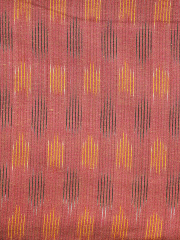 Peach Yellow Pochampally Hand Weaved Ikat Fabric Per Meter - F003F1244