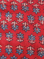 Red Indigo Black Ajrakh Hand Block Printed Cotton Fabric Per Meter - F003F1533
