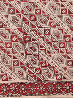 OffWhite Red Black Hand Block Printed Cotton Fabric Per Meter - F001F2466