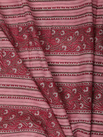 Pink Red White Hand Block Printed Cotton Fabric Per Meter - F001F2372
