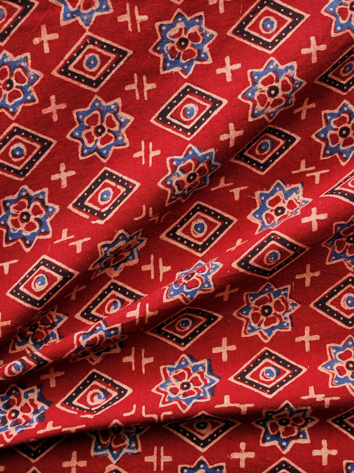 Red Blue Black Ivory Ajrakh Hand Block Printed Cotton Fabric Per Meter - F003F1603