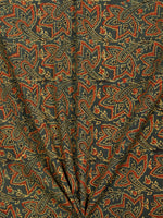 Green Maroon Black Yellow Ajrakh Block Printed Cotton Fabric Per Meter - F003F1763