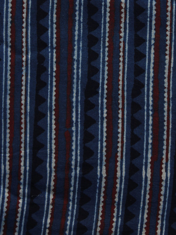 Indigo Ivory Black Brown Ajrakh Hand Block Printed Cotton Blouse Fabric - BPA031