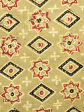 Light Olive Green Red Black Ajrakh Hand Block Printed Cotton Fabric Per Meter - F003F1606