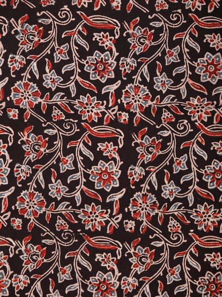 Black Maroon Blue Ajrakh Block Printed Cotton Fabric Per Meter - F003F1765
