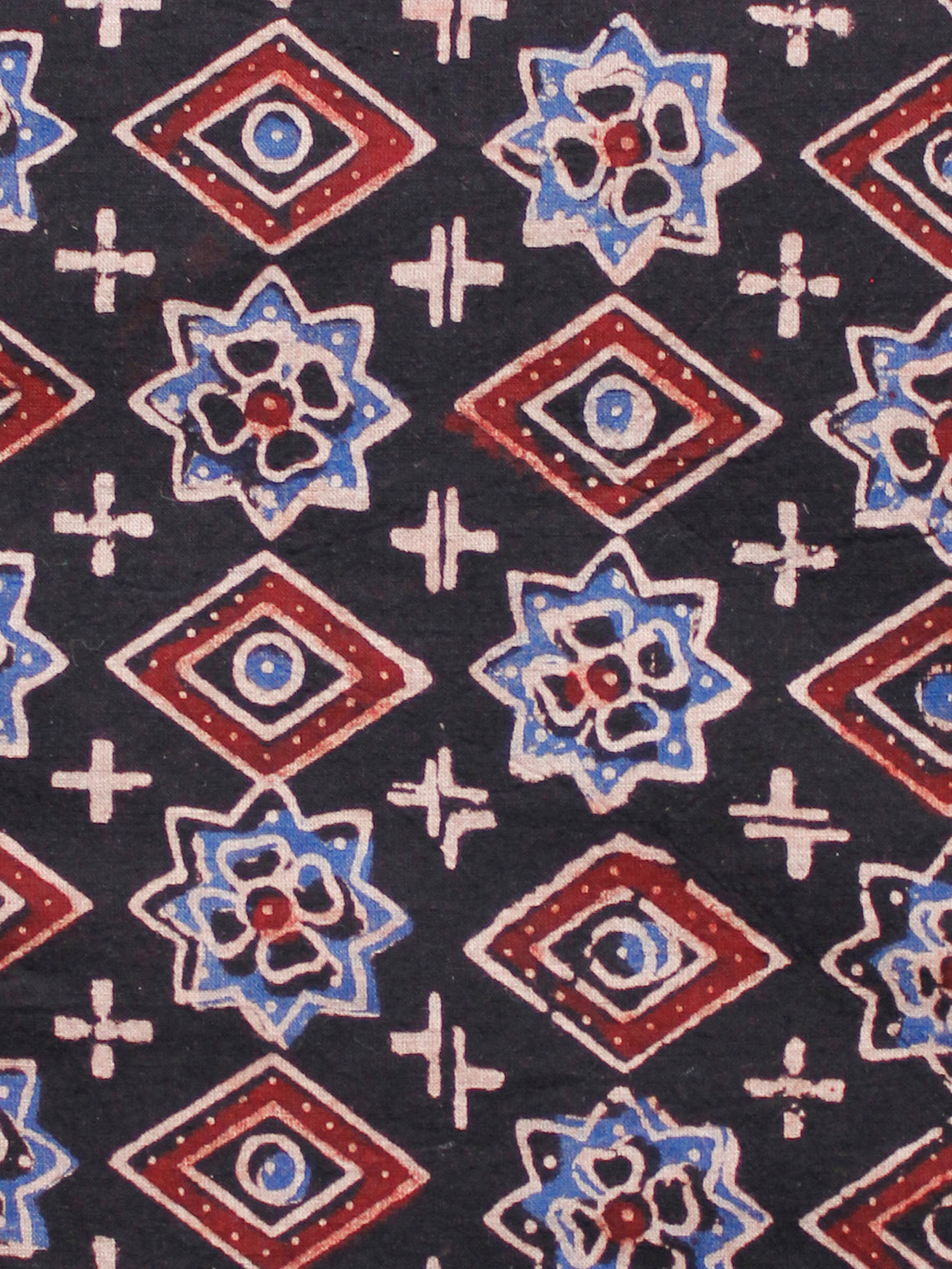 Black Blue Ivory Red Ajrakh Hand Block Printed Cotton Fabric Per Meter - F003F1605