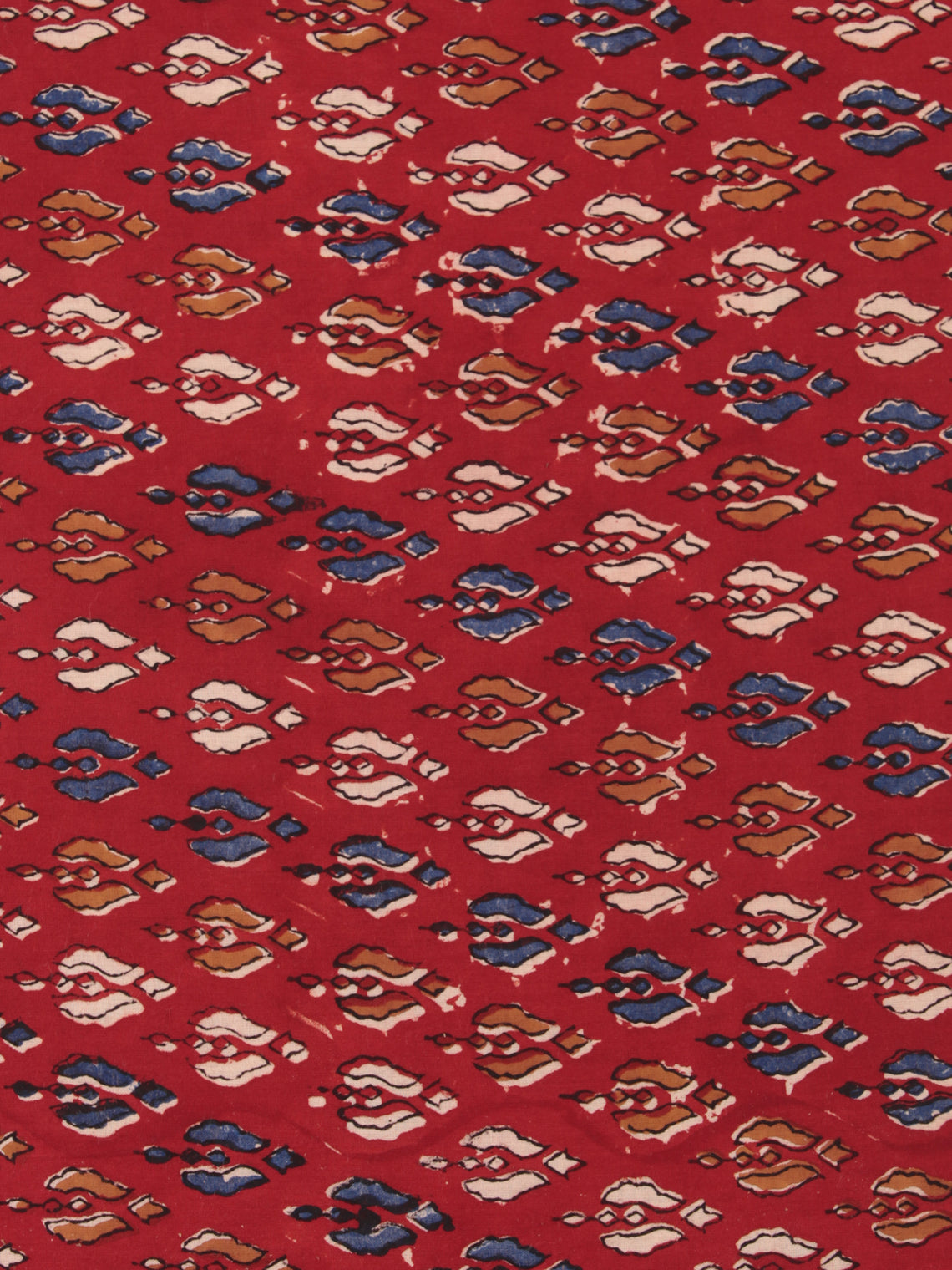 Red Indigo Mustard Hand Block Printed Cotton Fabric Per Meter - F001F2468