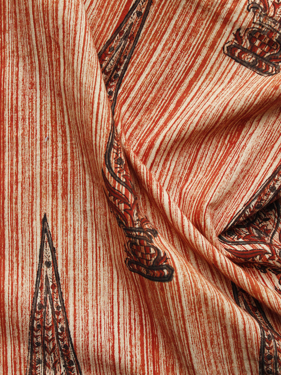 Beige Maroon Hand Block Printed Cotton Fabric Per Meter - F001F1078
