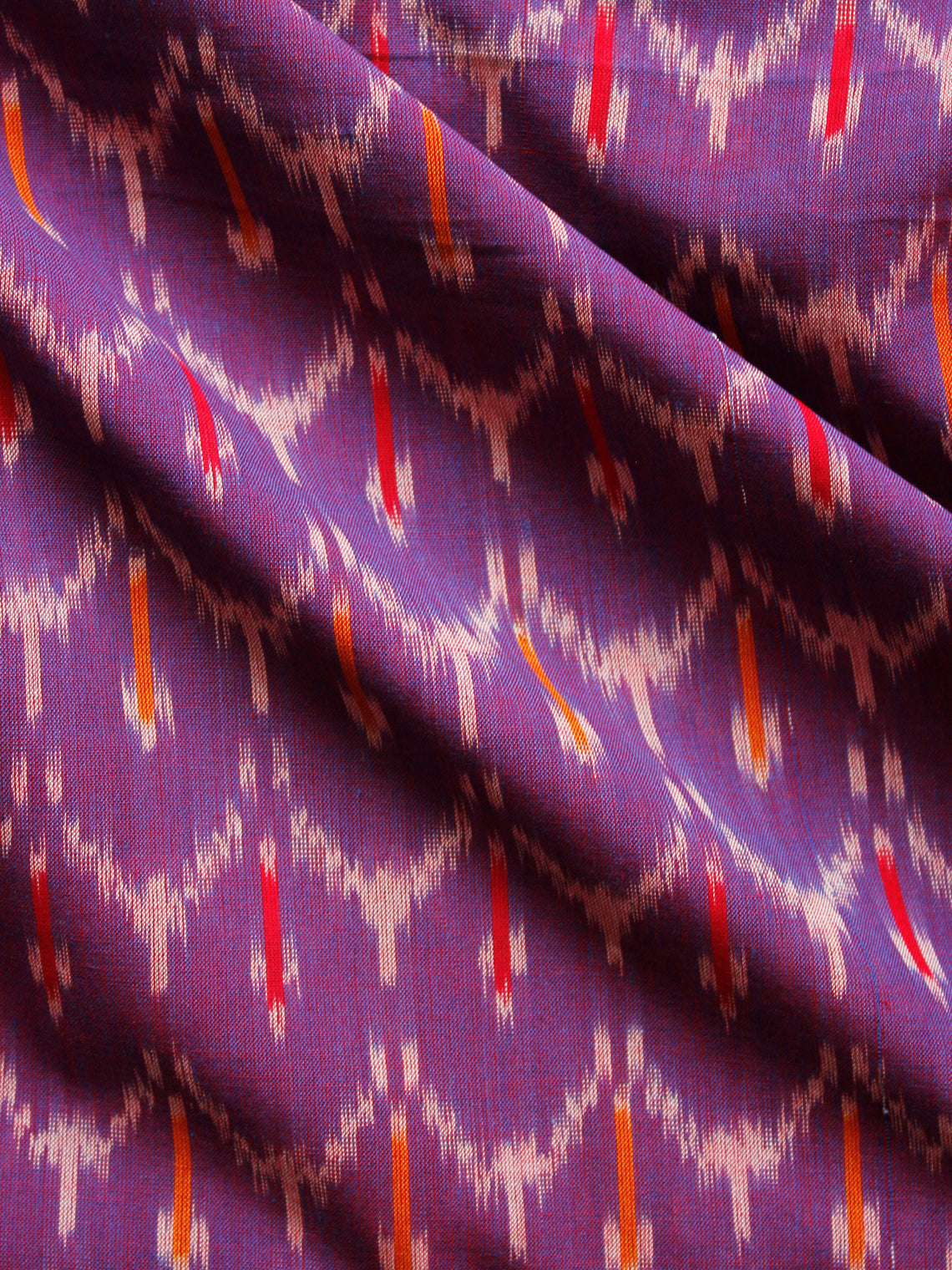 Purple Orange Ivory Pochampally Hand Weaved Ikat Mercerised  Fabric Per Meter - F002F1433