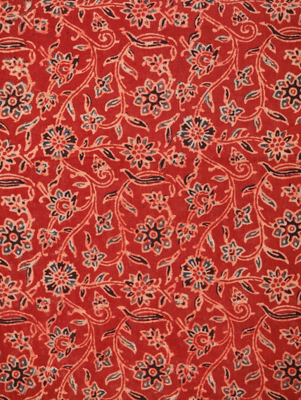 Red Black Beige Ajrakh Block Printed Cotton Fabric Per Meter - F003F1766