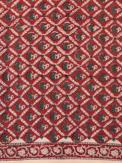 Red Green Beige Hand Block Printed Cotton Fabric Per Meter - F001F2470